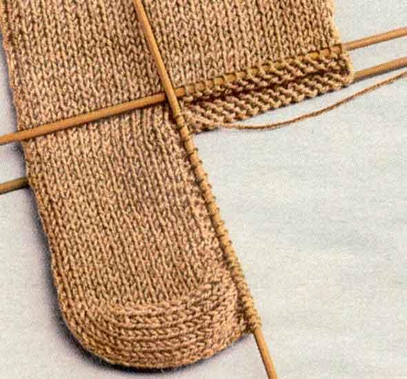 Вязание носков - соединение